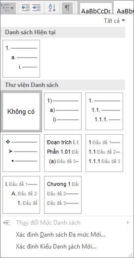 Chọn nút danh sách đa mức để thêm phần đánh số vào một kiểu đầu đề dựng sẵn, ví dụ, đầu đề 1, đầu đề tài liệu của bạn.
