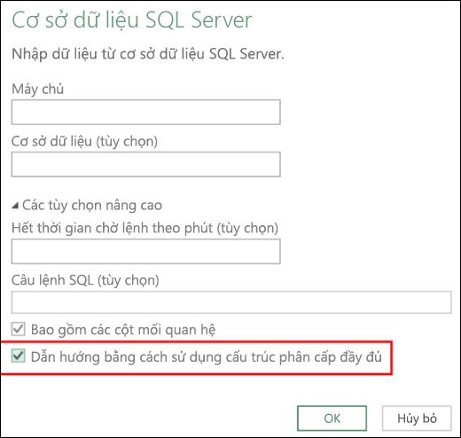 Các đường kết nối của cơ sở dữ liệu quan hệ đã cải tiến trong Power BI của Excel