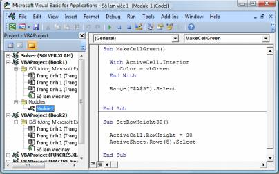 Một mô-đun có chứa hai macro được lưu vào Mô-đun 1 trong Sổ 1