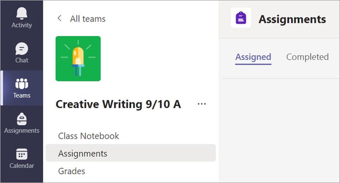 Chọn tab bài tập để xem bài tập của bạn trong một lớp.