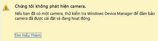 Ảnh chụp màn hình không phát hiện thấy camera