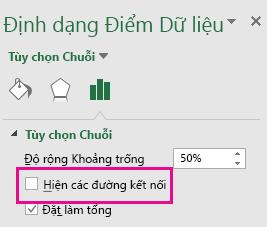 Ngăn tác vụ Định dạng Điểm Dữ liệu với hộp Hiện Đường Kết nối không được chọn trong Office 2016