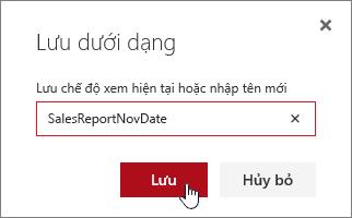 Hộp thoại lưu dưới dạng xem SharePoint Online