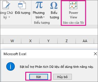 Nút Dạng xem Pivot Tùy chỉnh và hộp thoại bật bổ trợ trong Excel