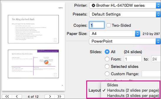 Bản phân phát để In trong Bản xem trước PowerPoint cho Mac