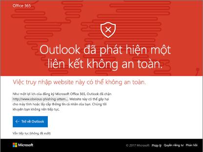 Outlook đã phát hiện một nối kết usafe.