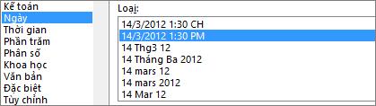 Hộp thoại định dạng ô, lệnh ngày, kiểu 3/14/12 1:30