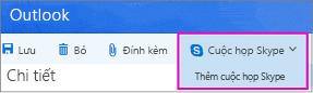 Tùy chọn cuộc họp Skype mới trong Outlook trên Web