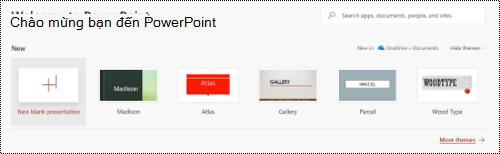 Dạng xem chào mừng với mẫu trong PowerPoint Online.