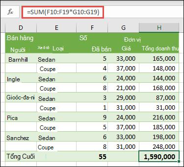 Công thức mảng một ô để tính tổng số lớn với = SUM (F10: F19 * 5Mp: G19)