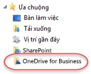 Các mục yêu thích liệt kê cho OneDrive for Business trong SP2016