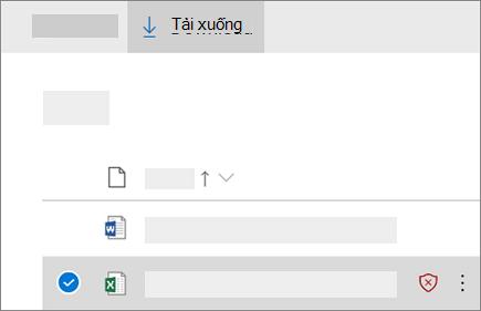 Ảnh chụp màn hình tải xuống tệp bị chặn trong OneDrive for Business