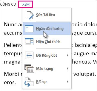 Hình ảnh menu Xem trong Chế độ Đọc với tùy chọn Ngăn Dẫn hướng được chọn.