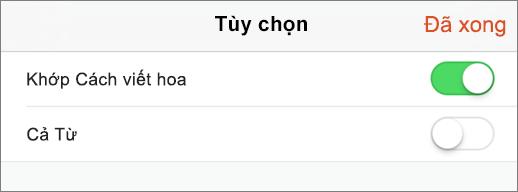 Hiển thị tùy chọn tìm kiếm trong PowerPoint cho iPhone.