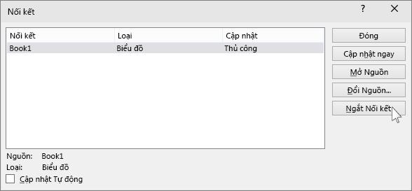 """hiển thị tùy chọn """"ngắt nối kết"""" trong powerpoint"""