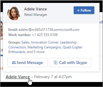 Thẻ hover, Hiển thị thông tin liên hệ của người dùng và thành viên nhóm