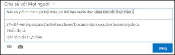 URL tài liệu trong bài đăng trong nguồn cấp tin tức được định dạng bằng văn bản hiển thị