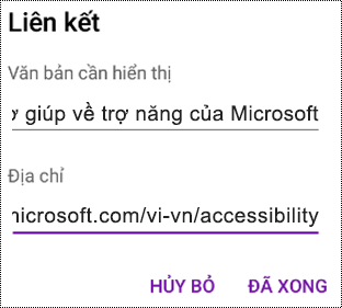 Hộp thoại Thêm siêu kết nối trong OneNote for Android