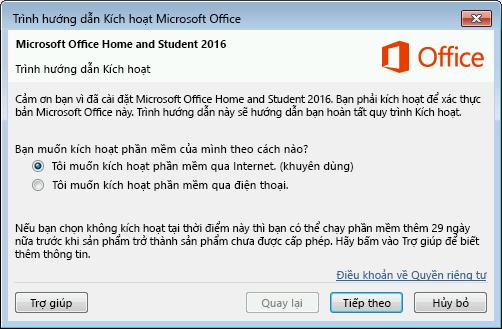 Hiển thị Trình hướng dẫn Kích hoạt Microsoft Office