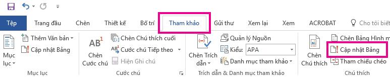 Lệnh Cập nhật Bảng nằm trên tab Tham khảo.