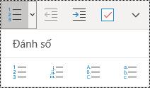 Nút Danh sách đánh số trên dải băng menu Trang đầu trong OneNote for Windows 10.
