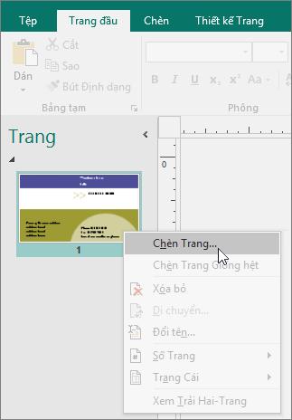 Ngăn dẫn hướng Chèn Trang trên Trang trong Publisher.