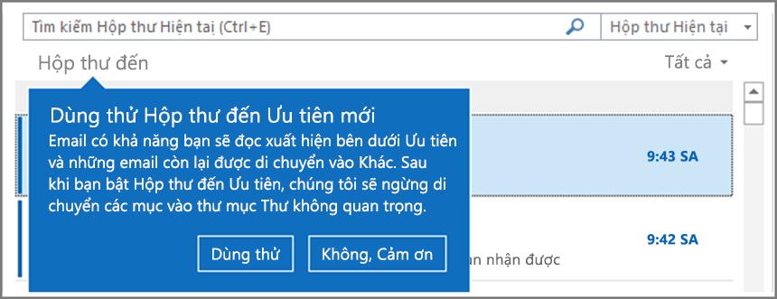 Hình ảnh Hộp thư đến Ưu tiên giống như khi được triển khai đến người dùng của bạn và Outlook đã mở lại.