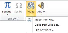 Nút trên dải băng để chèn video trực tuyến trong PowerPoint 2010