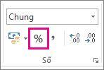 Nút Tỷ lệ phần trăm trên tab Trang đầu