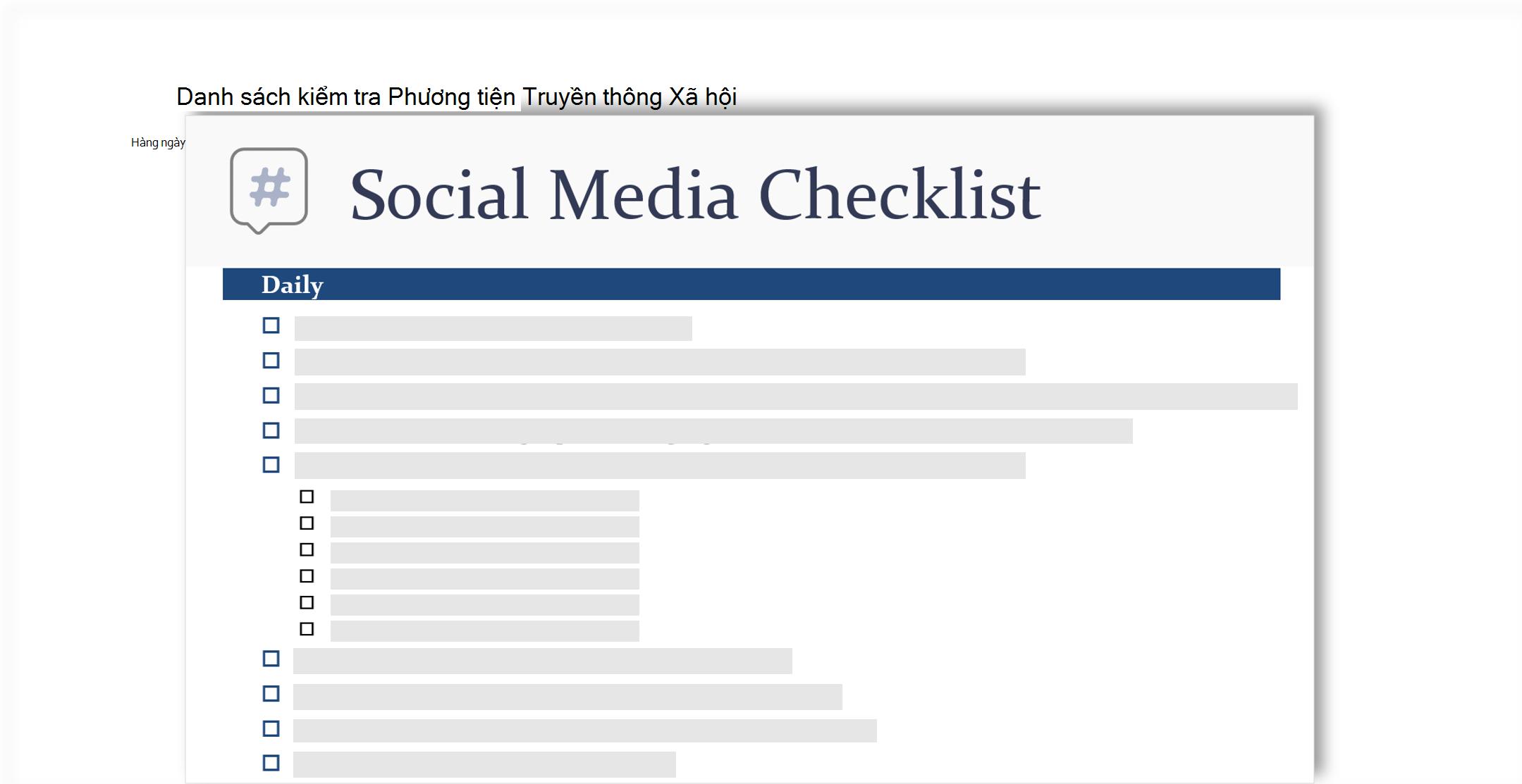 ảnh khái niệm của danh sách kiểm tra truyền thông xã hội