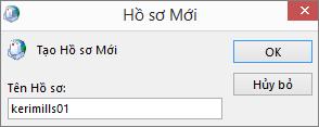 Hồ sơ thư Outlook mới được thiết lập cho kerimills