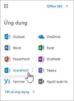 Danh sách ứng dụng Office 365 từ nút công cụ khởi động ứng dụng