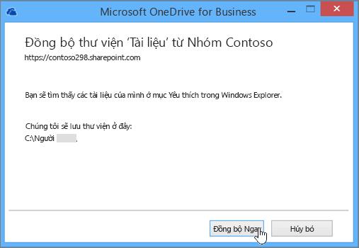 Chọn nút Đồng bộ ngay để bắt đầu đồng bộ tệp từ site nhóm với máy tính của bạn.