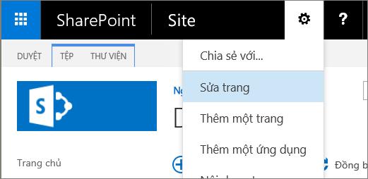 Thiết đặt SharePoint 2016 menu thả xuống