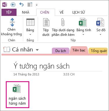 Chèn tệp Excel hiện có