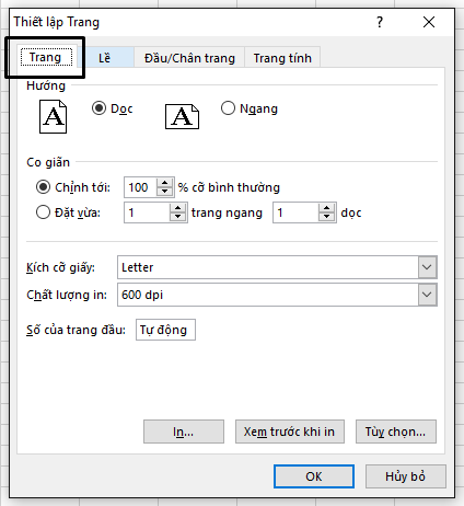 Hộp thoại Thiết lập Trang