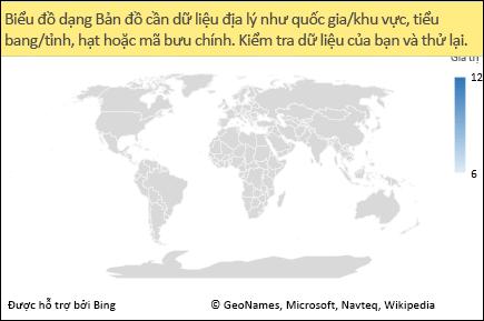 Biểu đồ dạng Bản đồ trong Excel có dữ liệu không rõ ràng