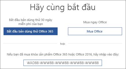 """Hiển thị màn hình """"Hãy bắt đầu"""", cho biết bản dùng thử Office 365 được tích hợp với thiết bị này"""