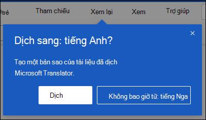 Lời nhắc trong Word cho web đề nghị tạo bản sao đã dịch tài liệu.