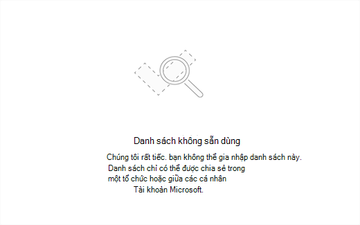 Ảnh chụp màn hình hiển thị thông báo lỗi danh sách không sẵn dùng