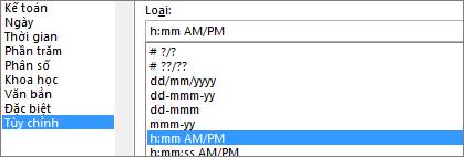 Hộp thoại định dạng ô, lệnh tùy chỉnh, h:mm AM/PM Type