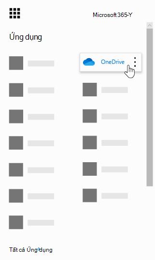 Công cụ khởi động ứng dụng Office 365 với ứng dụng OneDrive được tô sáng