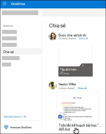 Thư mục dùng chung trong OneDrive