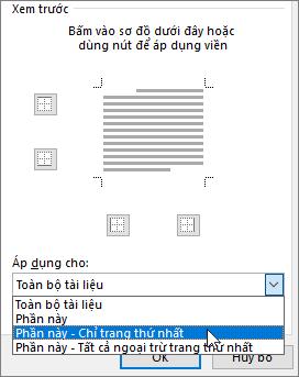 Hiển thị các tùy chọn Áp dụng Cho trong hộp thoại Viền và Màu nền
