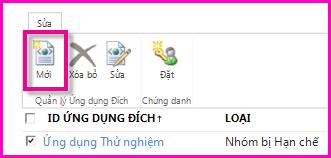 Ảnh chụp màn hình của trang Trung tâm Quản trị SharePoint Online để cấu hình Ứng dụng Đích Lưu trữ Bảo mật.