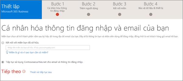 Trên trang cá nhân hóa của bạn đăng nhập và email, chọn thêm tên miền, hoặc dùng mà bạn đã sử dụng.