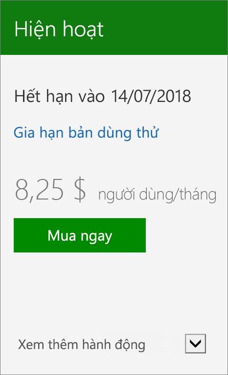 Hình chụp cận cảnh của thẻ thuê bao Hiển thị ngày bản dùng thử hết hạn, một nối kết để gia hạn bản dùng thử và nút Mua ngay.
