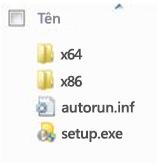 Cấu trúc thư mục của bộ chọn nền tảng cho bản cài đặt Office 2010 64 bit.