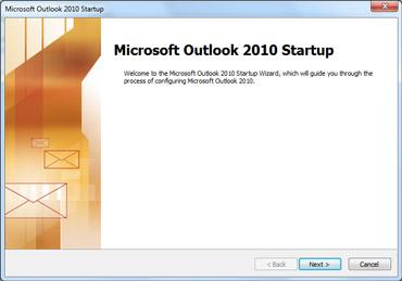 Cửa sổ khởi động Outlook 2010