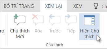 Hình ảnh lệnh Hiện Chú thích bên dưới tab Chú thích trong Dạng xem chỉ Đọc của Word Web App